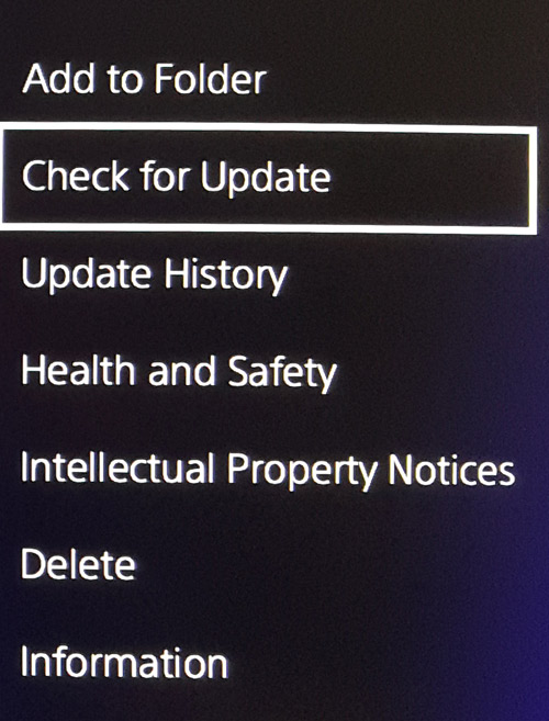 PS4 Games check for update