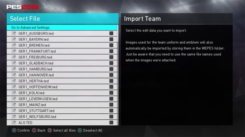 PES 2018 Import Team Selection