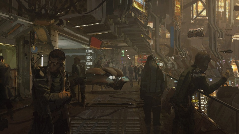 cyberpunk city people sci fi futuristic artwork