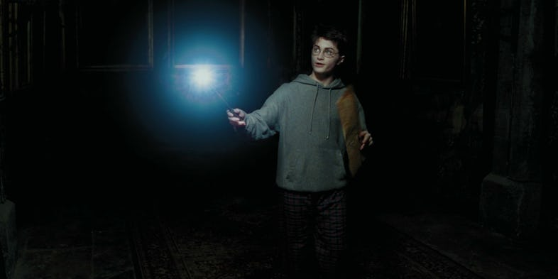 Daniel Radcliffe as Harry Potter With Illuminated Wand in Harry Potter and the Prisoner of Azkaban
