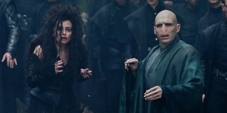 Helena Bonham Carter as Bellatrix Lestrange and Ralph Fiennes as Voldemort in Harry Potter and the Deathly Hallows Part 2